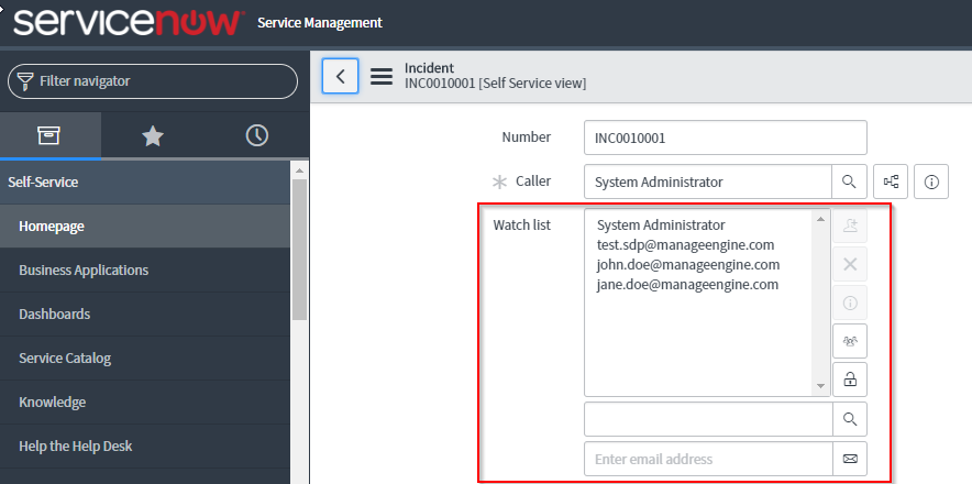 Service-Now Watch List vs  SDP Email IDs to Notify