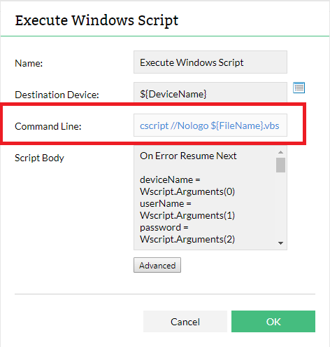how to pass usernme and password in script monitor for network device